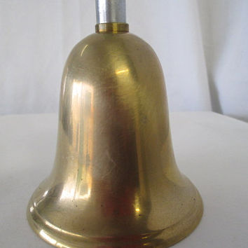 vintage brass bell, Made in Taiwan, two tone bell, vtg home decor, vtg desk bell, old souvenir bell, collectible bell, repurpose supply