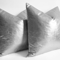 sukan / 1 Pillow Covers Metallic Gold - large pillow - euro pillows - european pillow covers - throw pillow - silver throw pillow