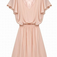 Pink V-Neck Butterfly Sleeve Chiffon Waist Dress