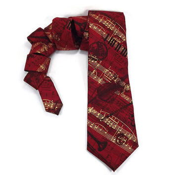 Jazz Music tie, Red music notes tie, music staff tie, music teacher gift, Red gold black, Red Jazz tie, Trumpet Sax Bass, scarlet red gold
