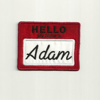 """Personalized, """"Hello My Name Is"""" Tag Patch, Any Color!"""