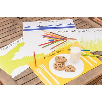 Kids Gift Box Assortment of Meal Time Disposable Paper Placemats - Set of 48