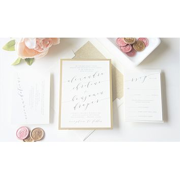 Blush Flowing Calligraphy Vellum and Wax Seal Wedding Invitation - SAMPLE SET