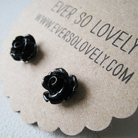tiny black rose earrings by EverSoLovely