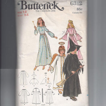 Butterick 6312 Pattern for Misses' Witch, Fairy, Princess, or Angel Costume, Size 12, From 1960s or early 1970s