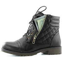 DailyShoes Women's Military Lace Up Buckle Combat Boots Ankle High Exclusive Credit Card Pocket, Black PU, 11