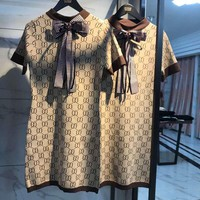 Gucci Trending Women Cute Bowknot Double G Letter Print Short Sleeve Knit Dress