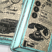 Dorm Room,Vintage Phone,Vintage Typewriter,Mixed Media,Retro Office,Old Dictionary Page,Cottage Chic, Home Decor
