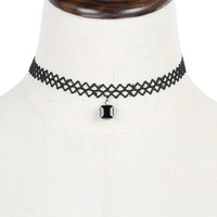 Black Square Drop Cut Out Chevron Choker Necklace