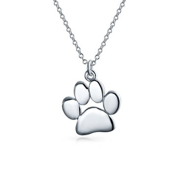 Dog Cat Kitten Puppy Paw Print Pendant Necklace 925 Sterling Silver