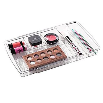 mDesign Expandable Cosmetic Drawer Organizer for Vanity Cabinet to Hold Makeup, Beauty Products - Clear