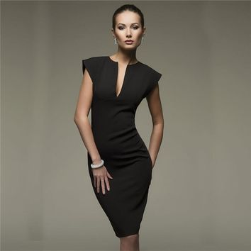 Fashion Sexy Solid Color V-Neck Dress