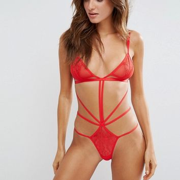 Bluebella Valentines Emerson Lace Strappy Body at asos.com