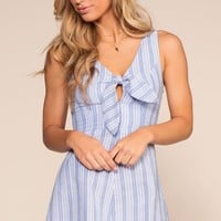 There Goes My Baby Tie Front Stripe Romper