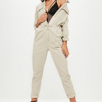 Missguided - Cream Utility Jumpsuit