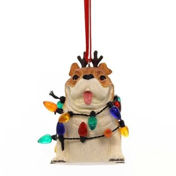 Holiday Ornaments BULLDOG IN LIGHTS Polyresin Gary Patterson 6000447