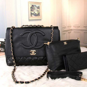 CHANEL Women Shopping Bag Leather Satchel Shoulder Bag Crossbody Three Piece Set