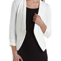 Geo-Textured Long Lapel Blazer by Charlotte Russe