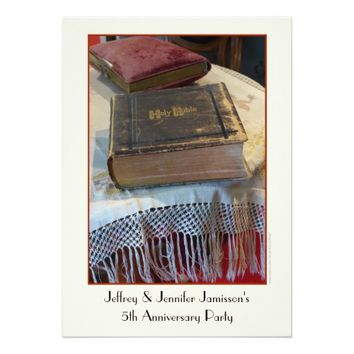 5th Anniversary Party Invitation Vintage Bible