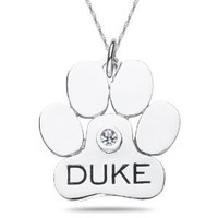 Personalized Dog Paw Pendant in Sterling Silver Peridot