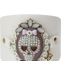 BETSEY LEATHER SKULL CUFF MULTI