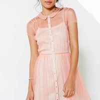 Cooperative Coco Mesh Fit & Flare Dress- Rose