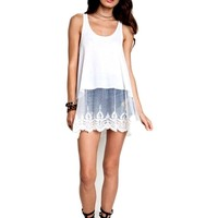 Ribbed Tank Lace Extender, Off White