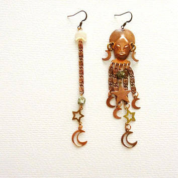 New Moon Goddess. African Mask Statement Earrings. Vintage Copper / Pyrite / Mother of Pearl