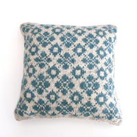 "Modern Fair Isle wool cushion / throw pillow  - Turquoise pattern on cream background - small 14"" x 14"""