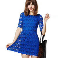 Blue Floral Lace Embroidered Mini Dress