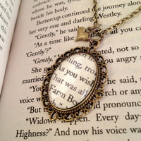 """The Princess Bride """"As You Wish"""" Antiqued Bronze Book Page Necklace"""