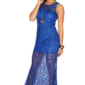 Sexy Blue Embroidered Mesh Sleeveless Maxi Dress