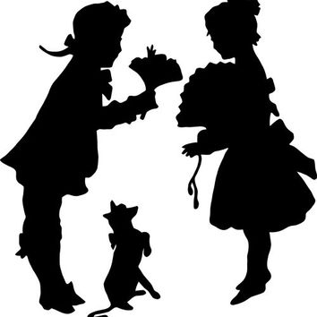 victorian sweethearts digital clip art silhouette stamp png image printable graphics digi stamp for t shirts totes cards