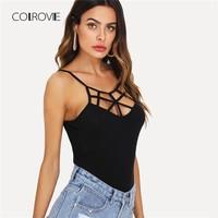 COLROVIE Caged Neck Fitted Cami Top 2018 New Summer Spaghetti Strap Slim Fit Women Tank Top Rock Criss Cross Backless Camisole