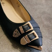 point black flats with a gold cap and gold buckle detailing at toes | shopcuffs.com