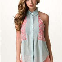 Coral Embroidered Halter