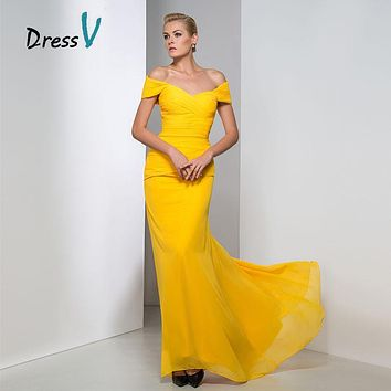 Dressv Elegant Off-The-Shoulder Trumpet/Mermaid Floor Length Evening Dress 2017 Long Formal Party Dress Long Prom Evening Gown