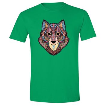 XtraFly Apparel Men's Wolf Pink Tribal Animal Crewneck Short Sleeve T-shirt