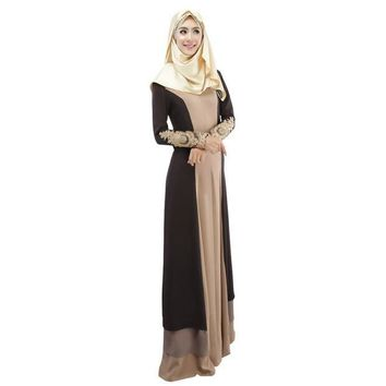 VOND4H 3 Colors Vintage Kaftan Abaya Women Slim Muslim Dress Long Sleeve Soft Maxi Islamic 4558