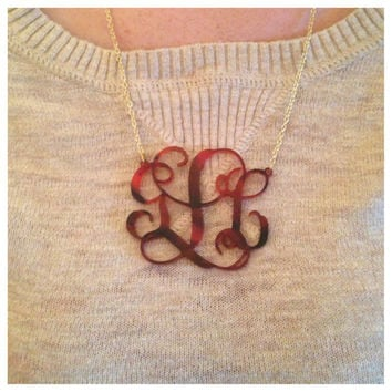 Tortoiseshell Monogram Necklace - Custom Made Laser Cut Acrylic Necklace With Gold Chain - Must Have Accessory