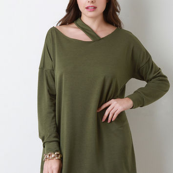 Deconstructed Asymmetrical Sweater Dress