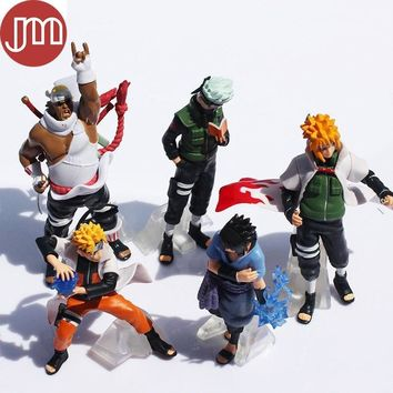 Naruto Sasauke ninja New 5pcs One Piece  Shippuden Sasuke Uzumaki Kakashi Doll Anime Kids Toys Gift Collection Action Figure Cake Toppers AT_81_8