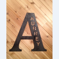 "18"" Raw Metal Custom Letter or & with cut out name By PrecisionCut on Etsy"