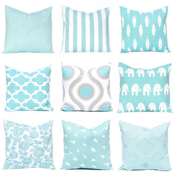 Aqua Pillow Covers, Spring Decor, Decorative Throw Pillow Covers, Sofa Pillows, Easter Decor, Turquoise Pillow Covers, Couch Pillow Covers