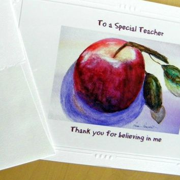 SCHOOL TEACHER CARD: Thank You greeting; ships free from PonsArt $5.85