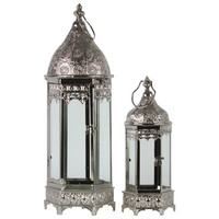 Metal Lantern with Ring Hanger, Glass Sides and Hexagonal Base Pierced Electroplated Finish Silver (Set of 2) | Overstock.com Shopping - The Best Deals on Accent Pieces