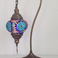 Turquoise  Swan Neck  Mosaic Lamp With Vintage Look Bronze Plated Base, Bedside night lamp, Turkish night lamp, Night Decorations, Lightings