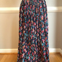 Floral Boho Hippie Peasant Gypsy Festival Broomstick Maxi Skirt