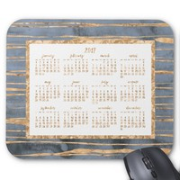 Gold Foil Yearly 2017 Calendar Mouse Pads Blue