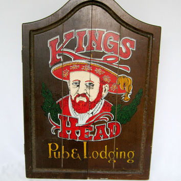 Dart Board Cased Wood Kings Head Pub and Lodging Wood Case Rare Wood Hanging Dart Board Pub Tavern Game Room